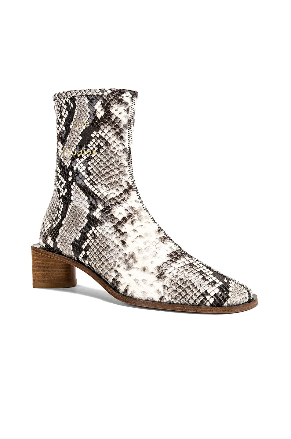 Image 2 of Acne Studios Bertine Snake Boots in White & Beige