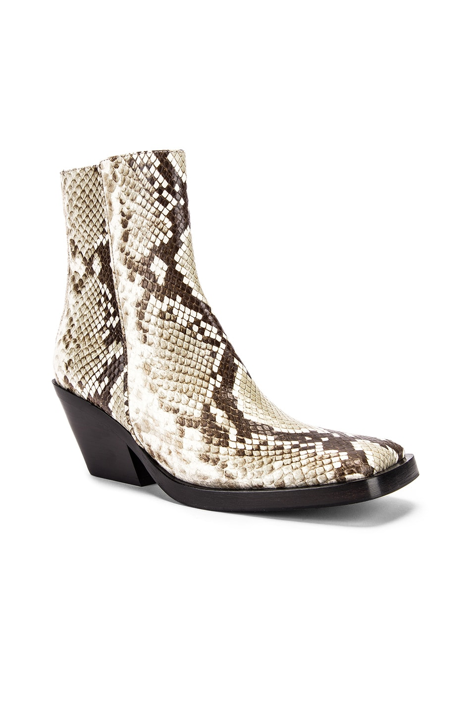 Image 2 of Acne Studios Braxton Snake Boots in Off White