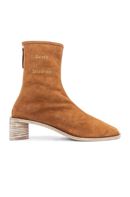 Image 1 of Acne Studios Logo Suede Boot in Antique Brown & Ecru