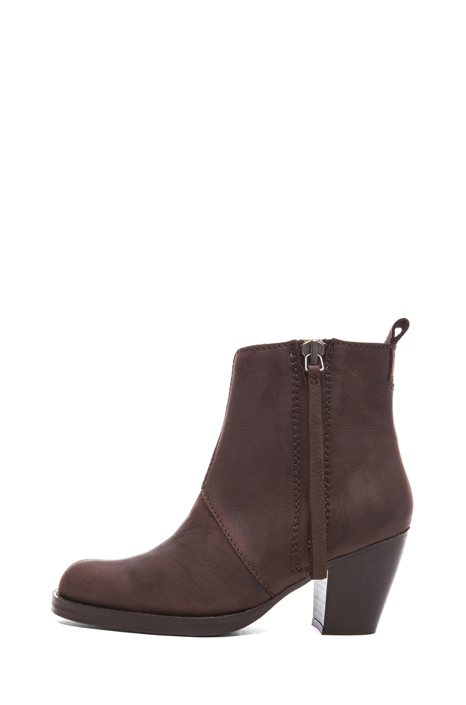 Image 1 of Acne Studios Pistol Leather Booties in Dark Brown