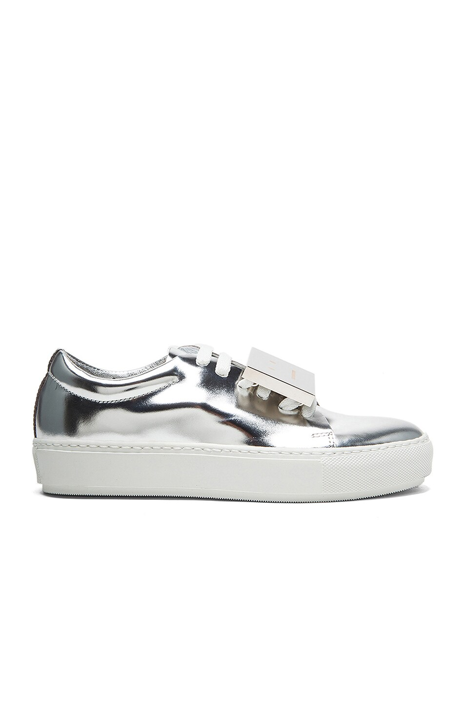 Image 1 of Acne Studios Adriana Metallic Leather Sneakers in Silver