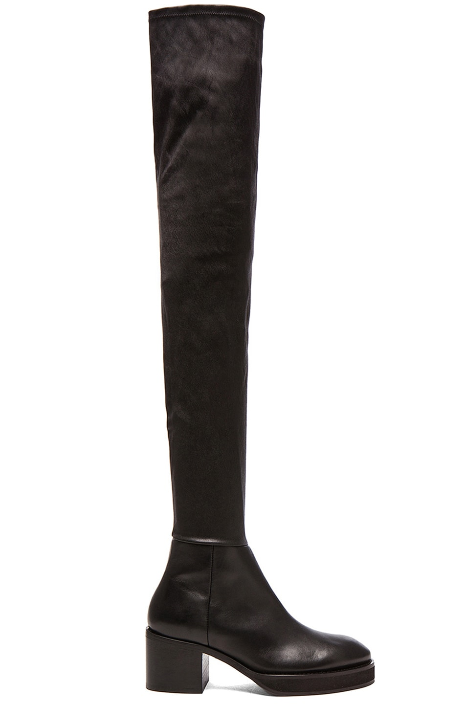 Image 1 of Acne Studios Hiloh Thigh High Leather Boots in Black