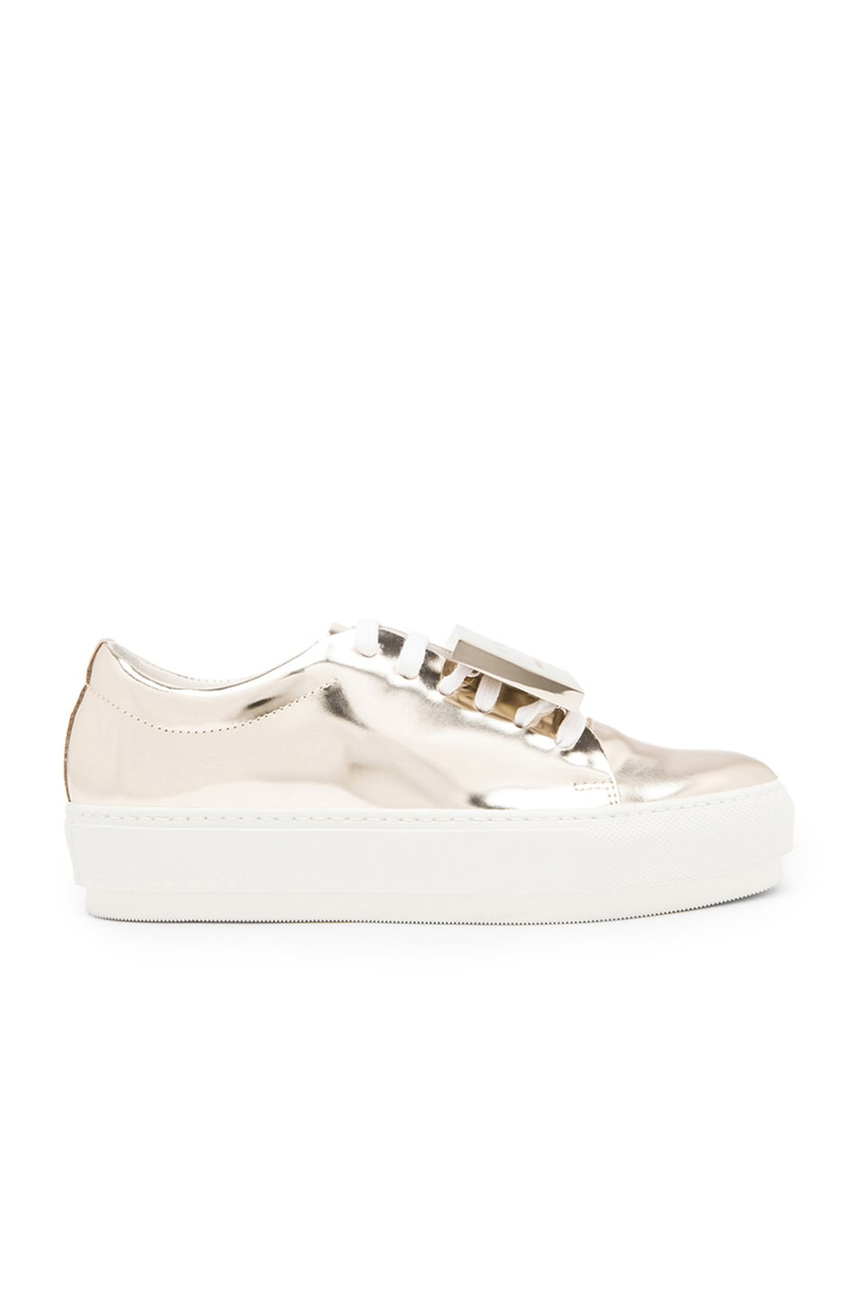 Image 1 of Acne Studios Adriana Patent Leather Sneakers in Light Gold