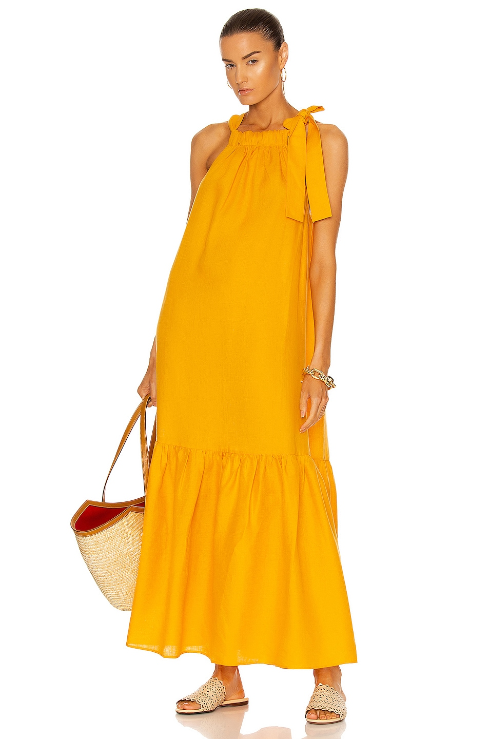 Image 1 of ASCENO The Ibiza Dress in Mandarin