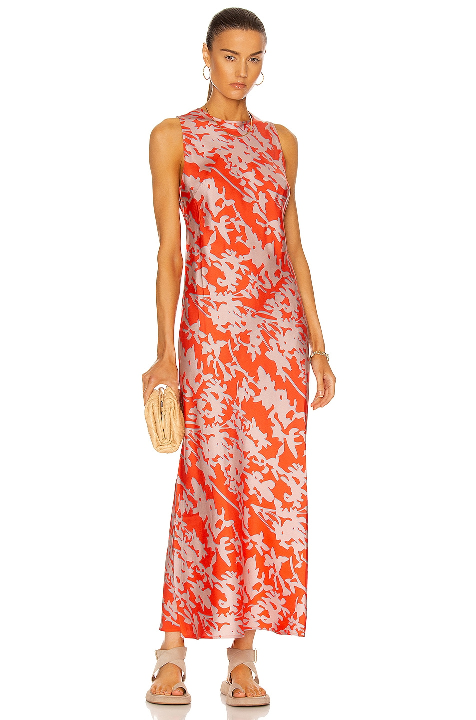 Image 1 of ASCENO The Valencia Dress in Coral Leaf