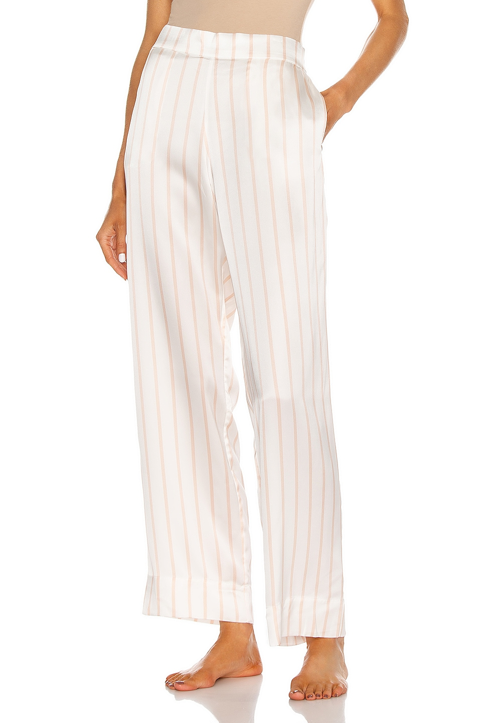 Image 1 of ASCENO The London PJ Bottom in Blush Stripe