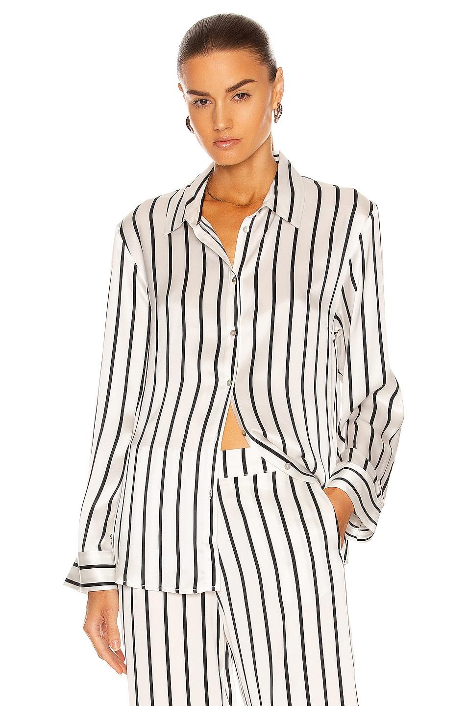 Image 1 of ASCENO The London PJ Top in Black Stripe