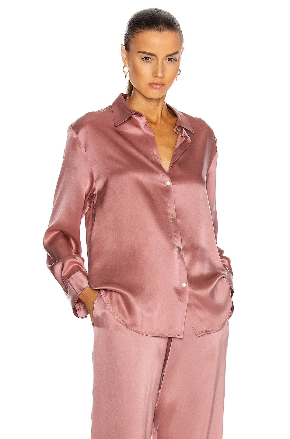 Image 1 of ASCENO The London PJ Top in Dusty Rose