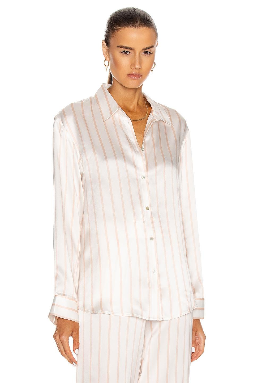 Image 1 of ASCENO The London PJ Top in Blush Stripe