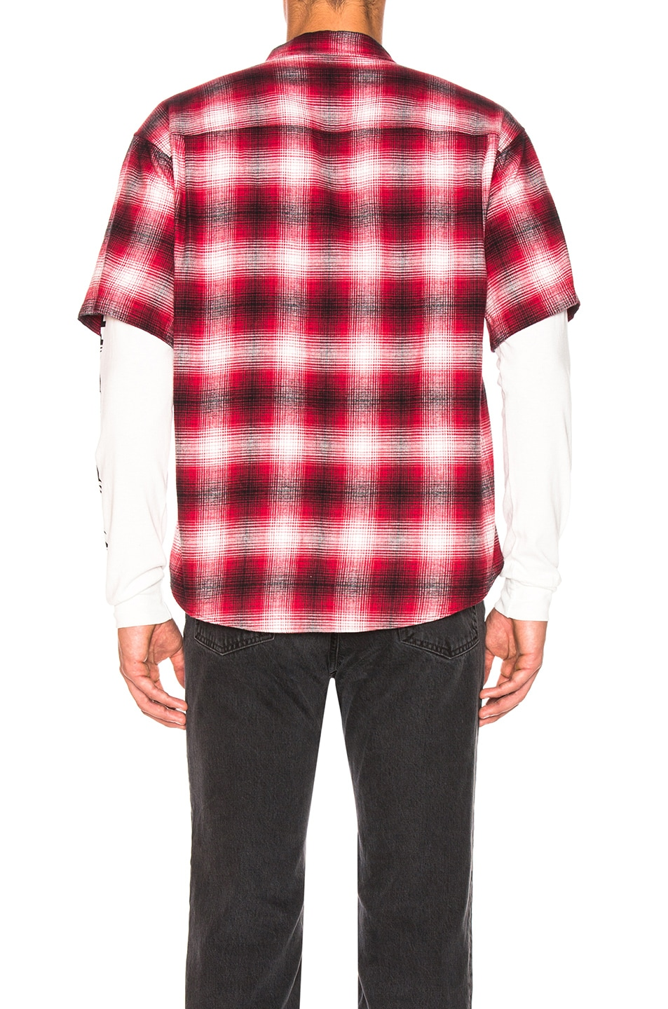Adaptation Double Sleeve Shirt Red Plaid & White best
