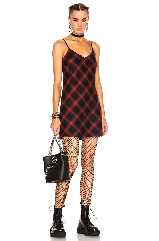 Image 1 of Adaptation Bias Plaid Slip Dress in Black Plaid & Red