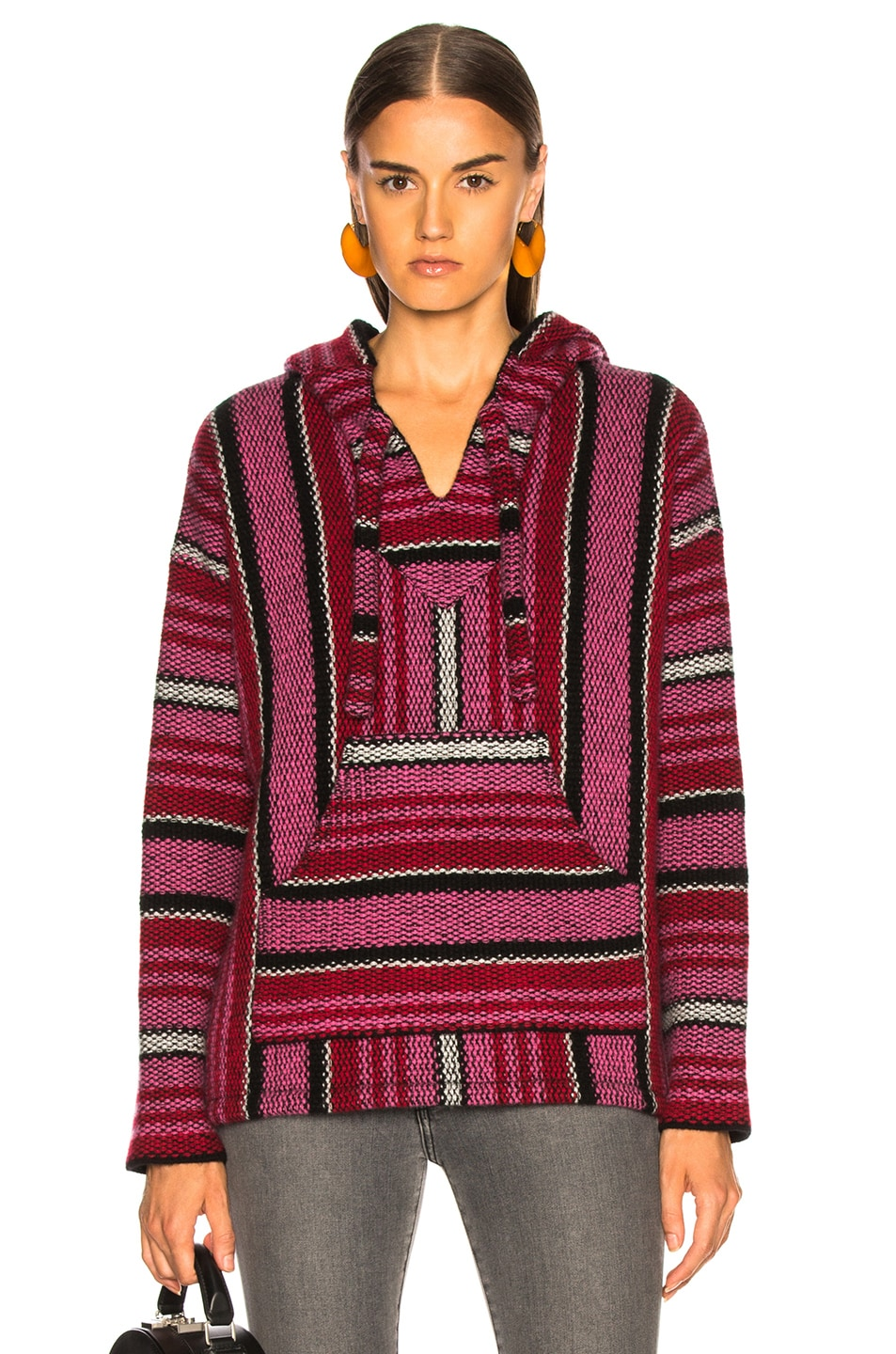 Image 1 of Adaptation Cashmere Baja Hoodie in Candy Stripe
