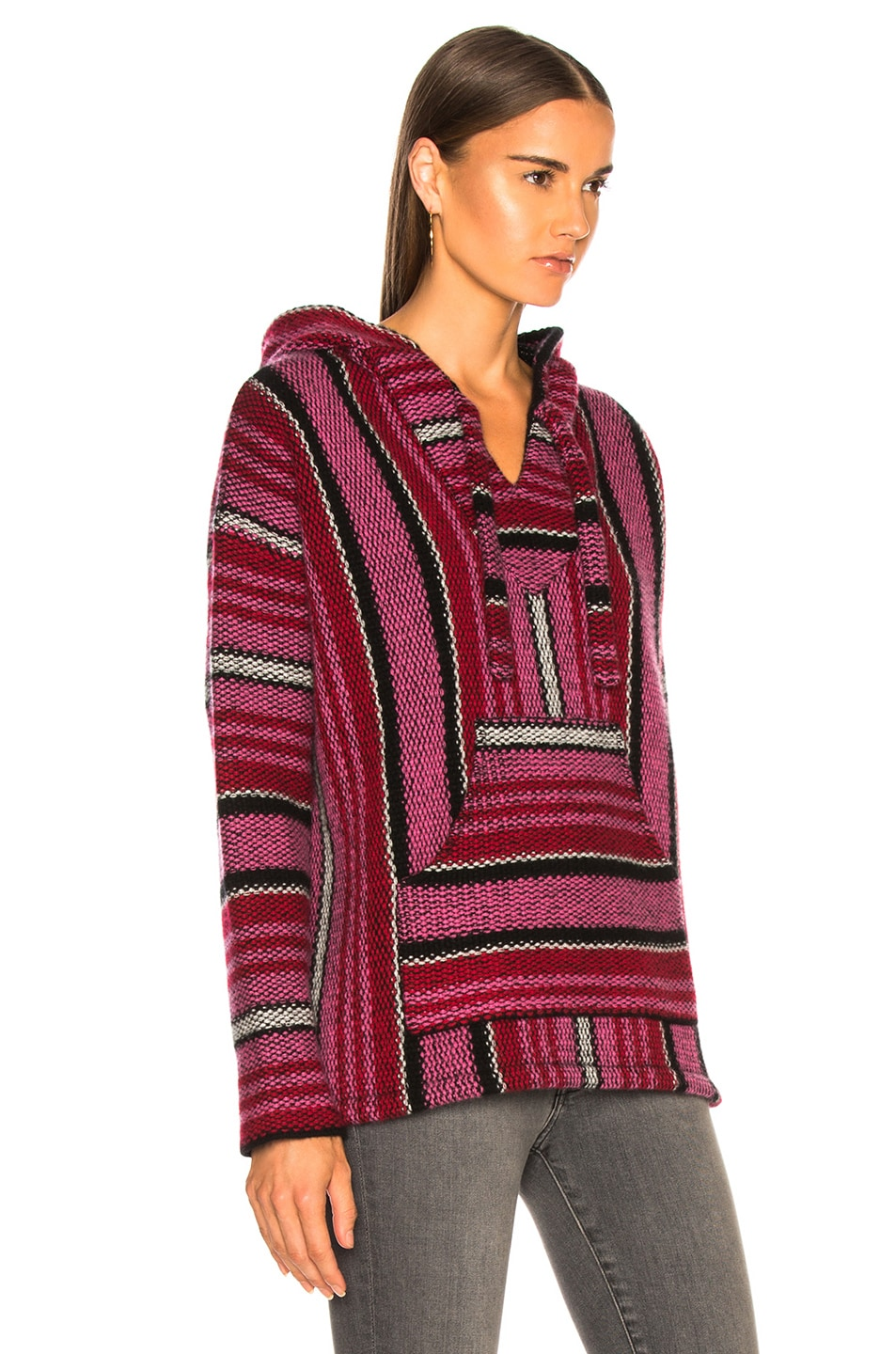 Image 2 of Adaptation Cashmere Baja Hoodie in Candy Stripe