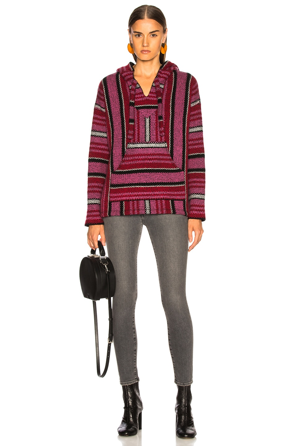 Image 4 of Adaptation Cashmere Baja Hoodie in Candy Stripe