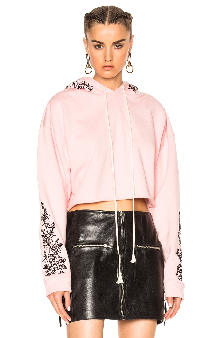 Image 1 of Adaptation x Chain Gang for FWRD Cropped Black Roses Hoodie in Pink