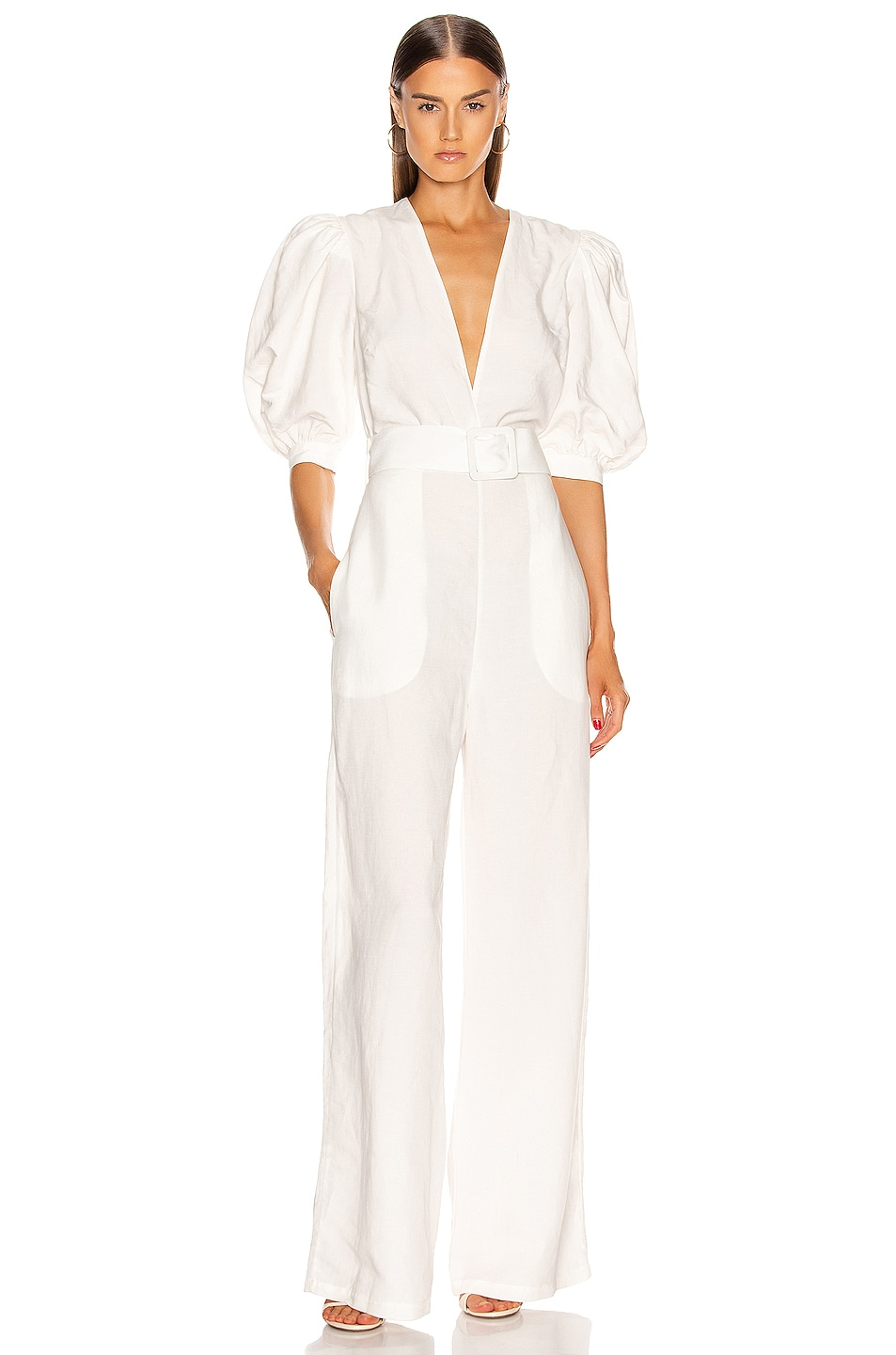 Image 1 of ADRIANA DEGREAS Solid Jumpsuit With Belt in Off White
