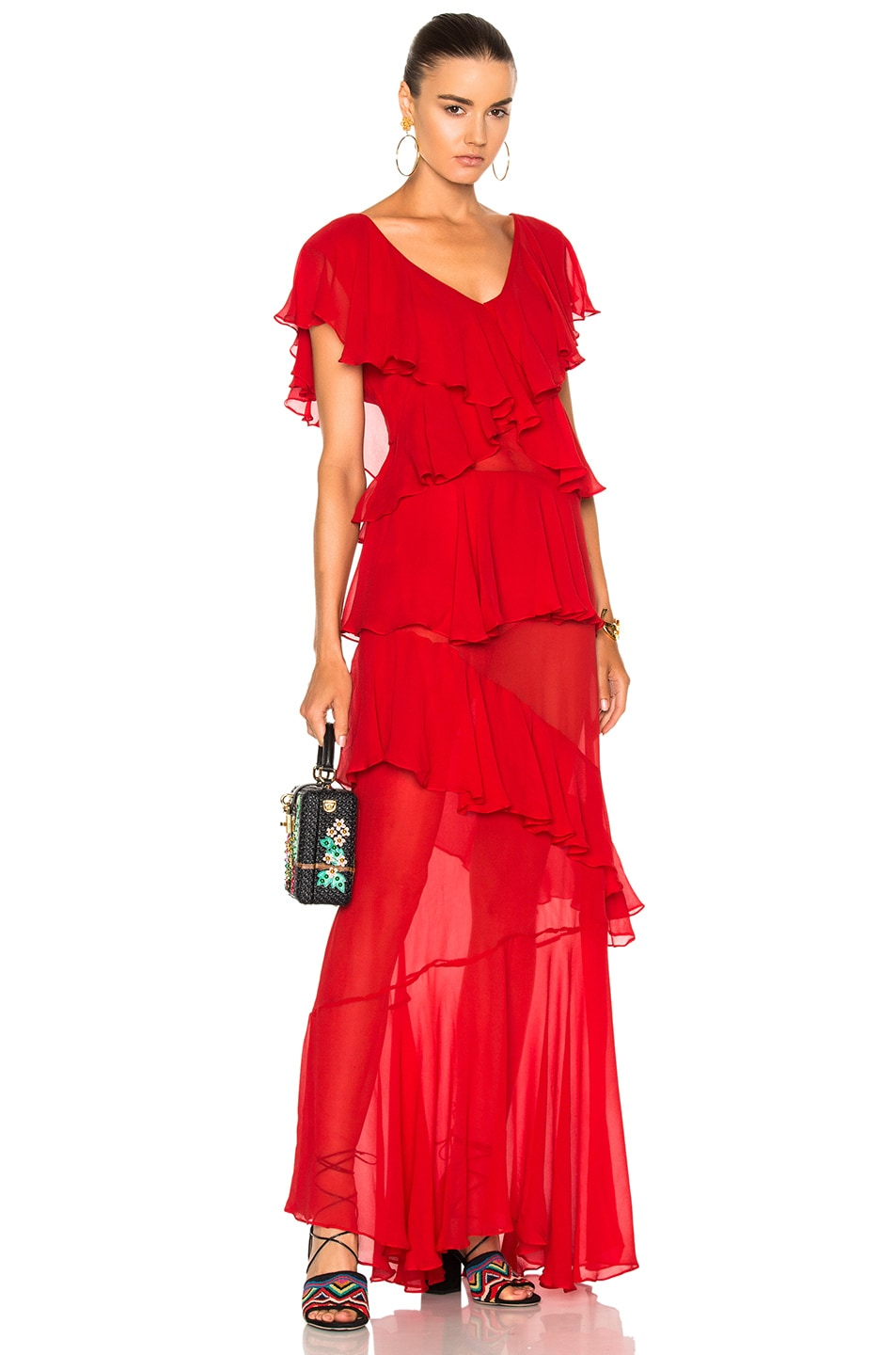 Image 1 of ADRIANA DEGREAS Chine Dress in Red