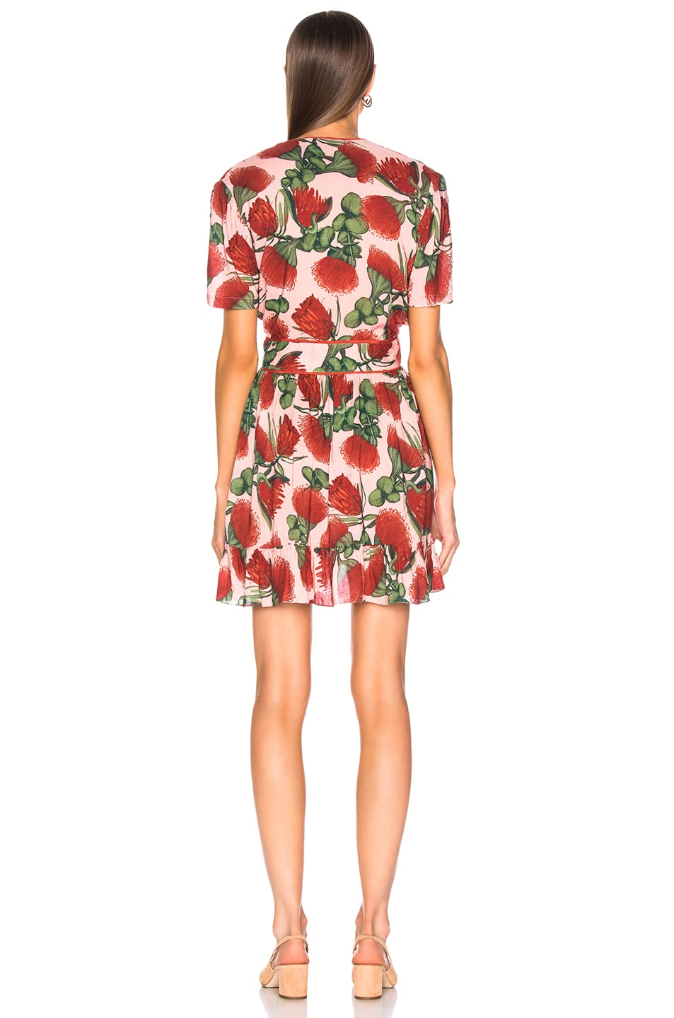 Image 3 of ADRIANA DEGREAS Fiore Short Dress With Knot Detail in Rose