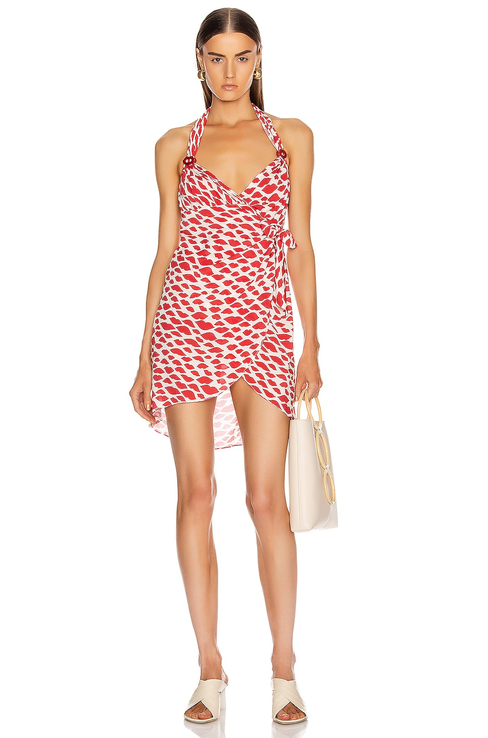 Image 1 of ADRIANA DEGREAS Bacio Cross Front Short Dress in Red & Off White