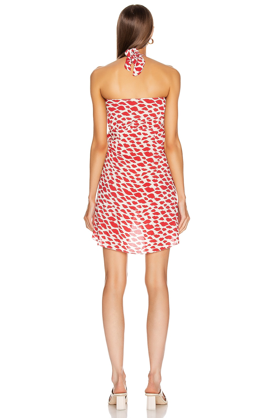 Image 3 of ADRIANA DEGREAS Bacio Cross Front Short Dress in Red & Off White