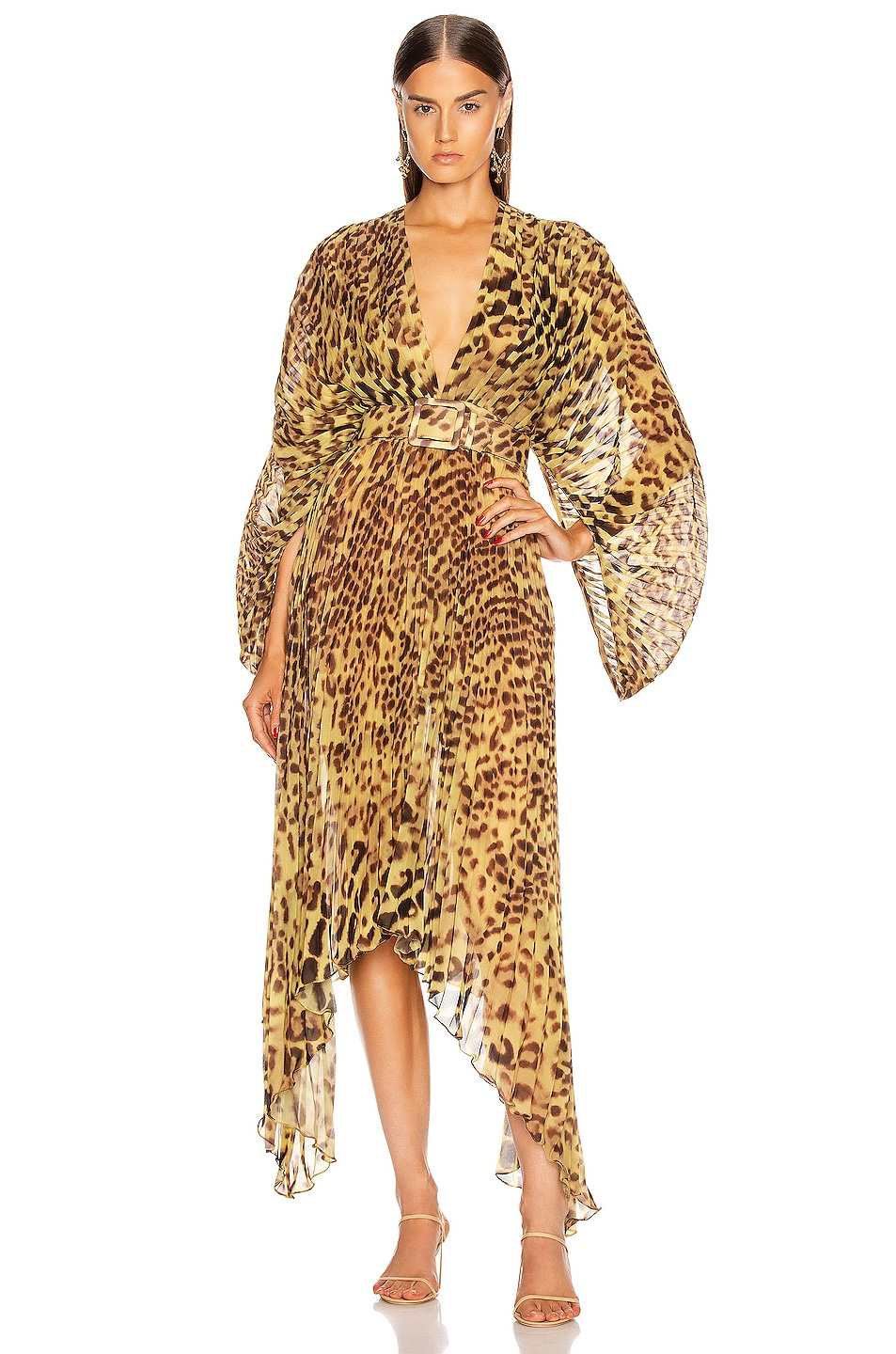adriana degreas leopard pleated midi dress in brown fwrd. Black Bedroom Furniture Sets. Home Design Ideas