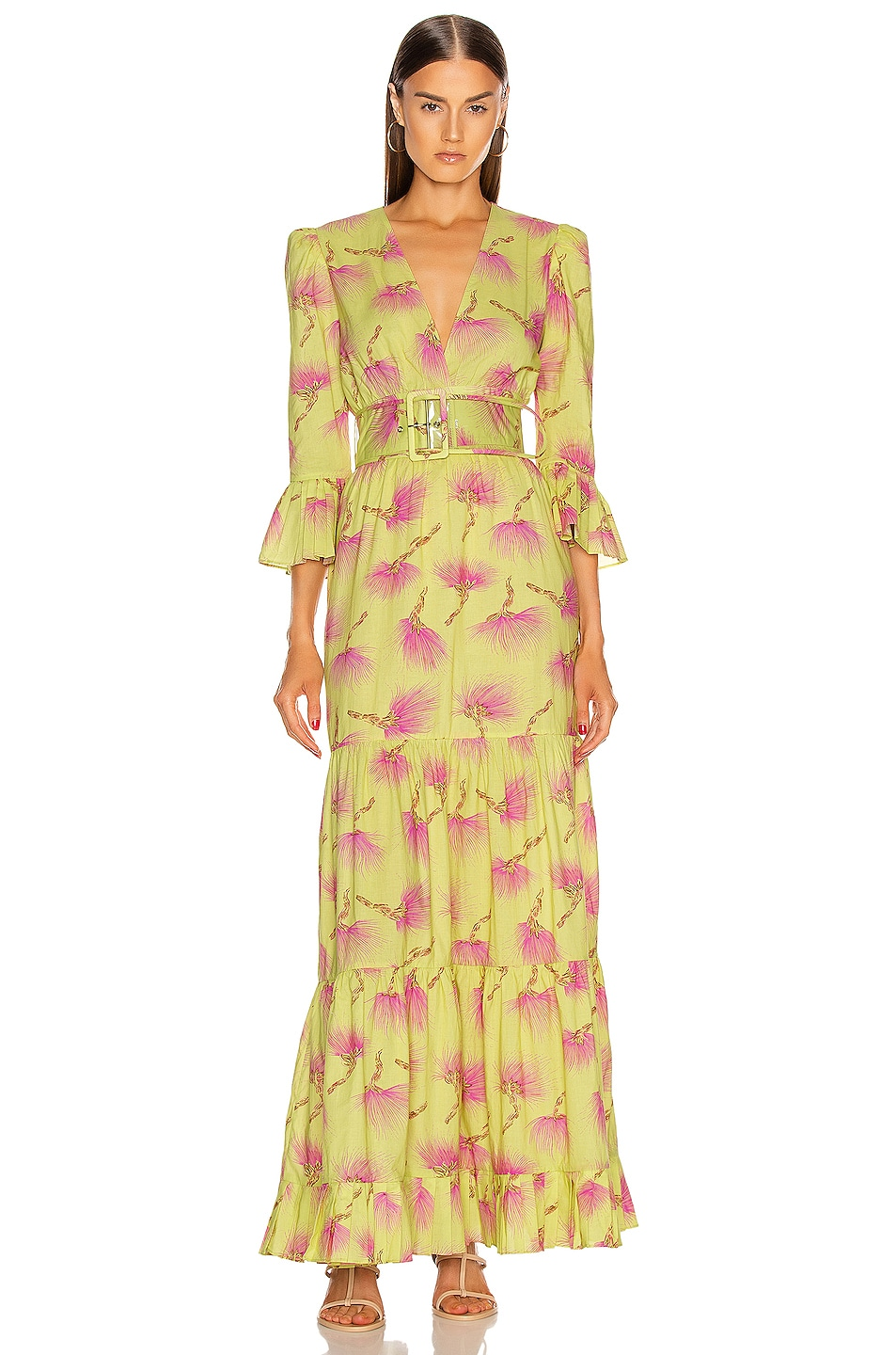 Image 1 of ADRIANA DEGREAS Wild Flower Long Dress in Yellow