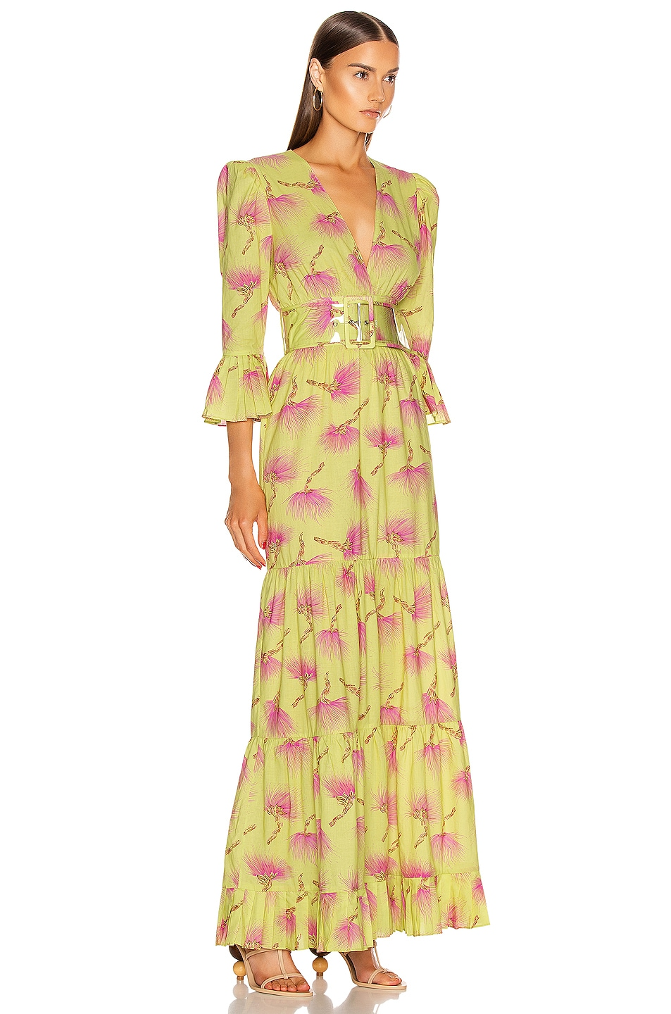 Image 2 of ADRIANA DEGREAS Wild Flower Long Dress in Yellow