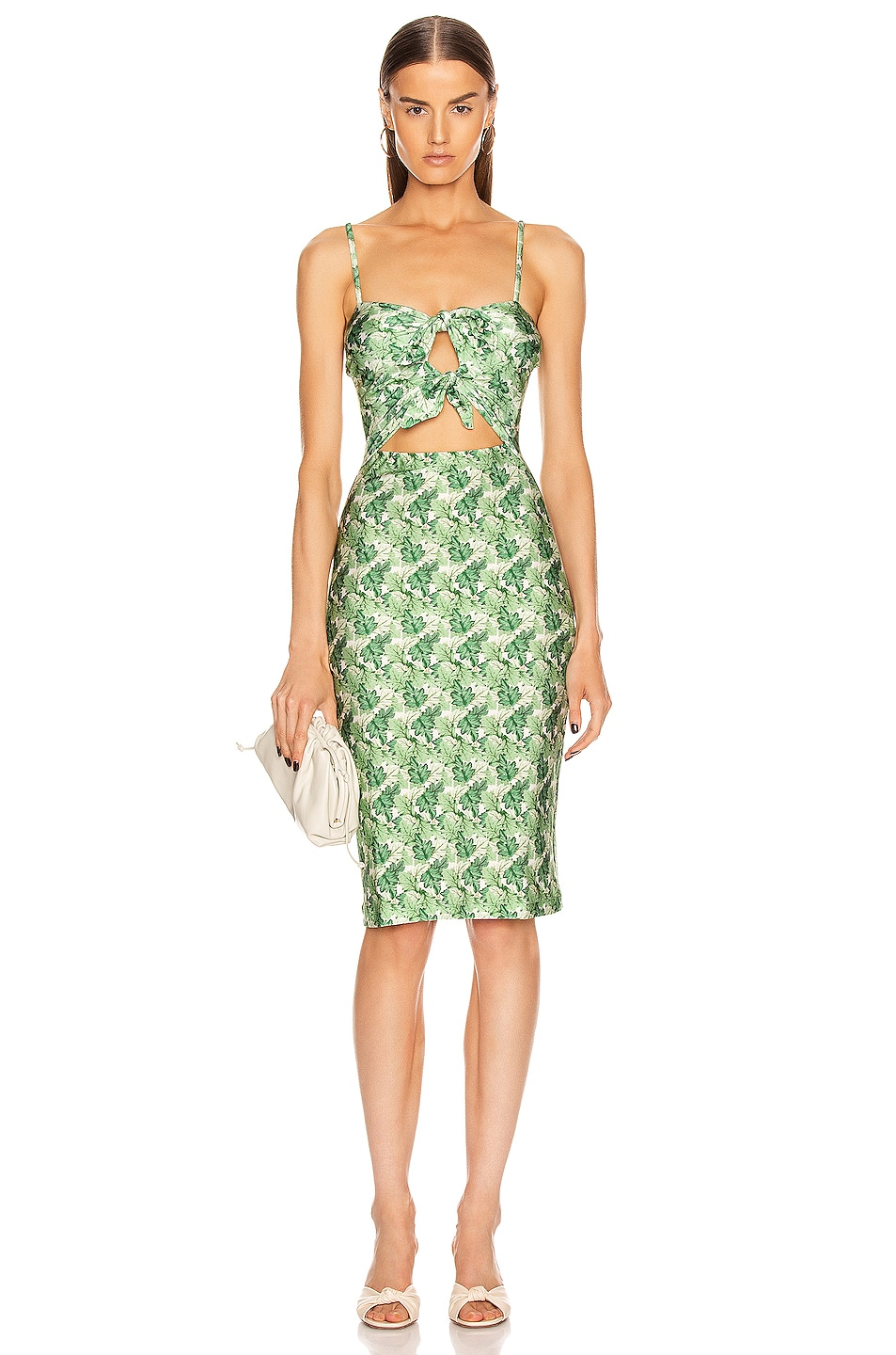 Image 1 of ADRIANA DEGREAS Dahlia Midi Dress with Double Knot in Green