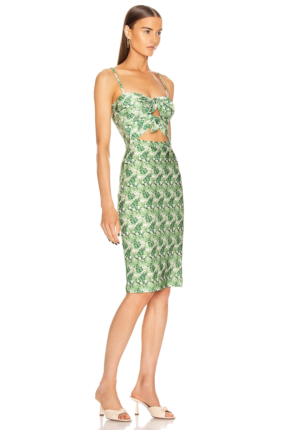 Image 2 of ADRIANA DEGREAS Dahlia Midi Dress with Double Knot in Green