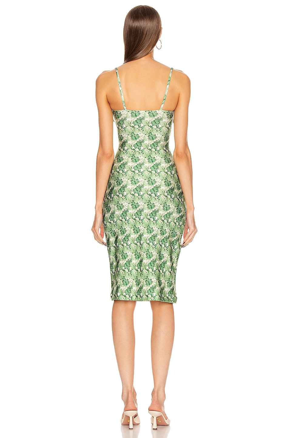 Image 3 of ADRIANA DEGREAS Dahlia Midi Dress with Double Knot in Green