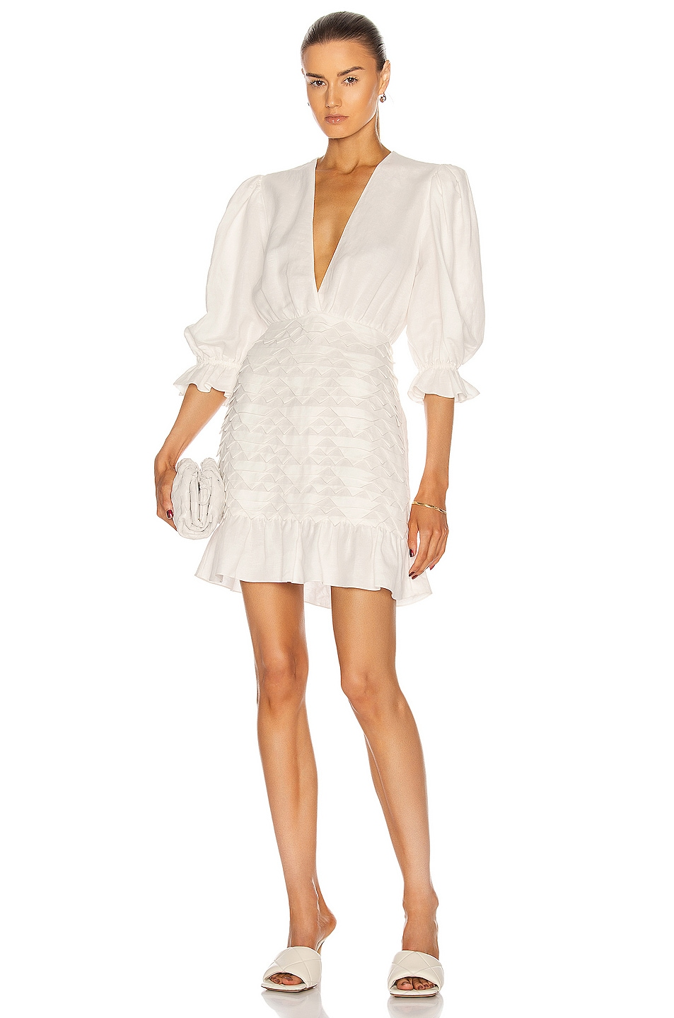Image 1 of ADRIANA DEGREAS Linen Puff-Sleeves Short Dress With Application in Off White