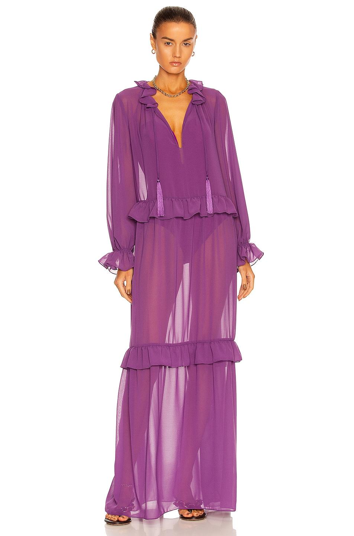 Image 1 of ADRIANA DEGREAS Solid Ruffled Long Dress in Fuchsia