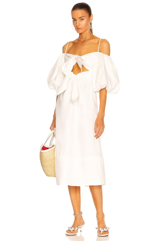 Image 1 of ADRIANA DEGREAS Linen Double Knot Midi Dress in White