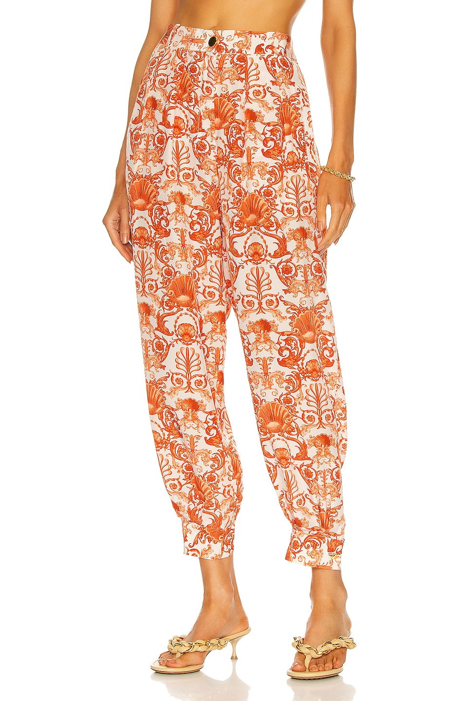 Image 1 of ADRIANA DEGREAS Seashell Carrot Pants in Off White