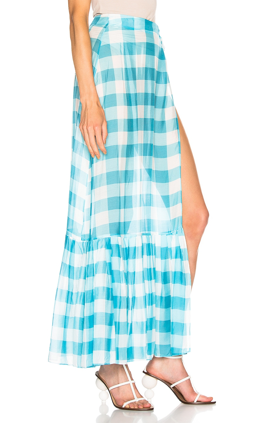 Image 2 of ADRIANA DEGREAS Vichy Long Pleated Skirt in Blue & White