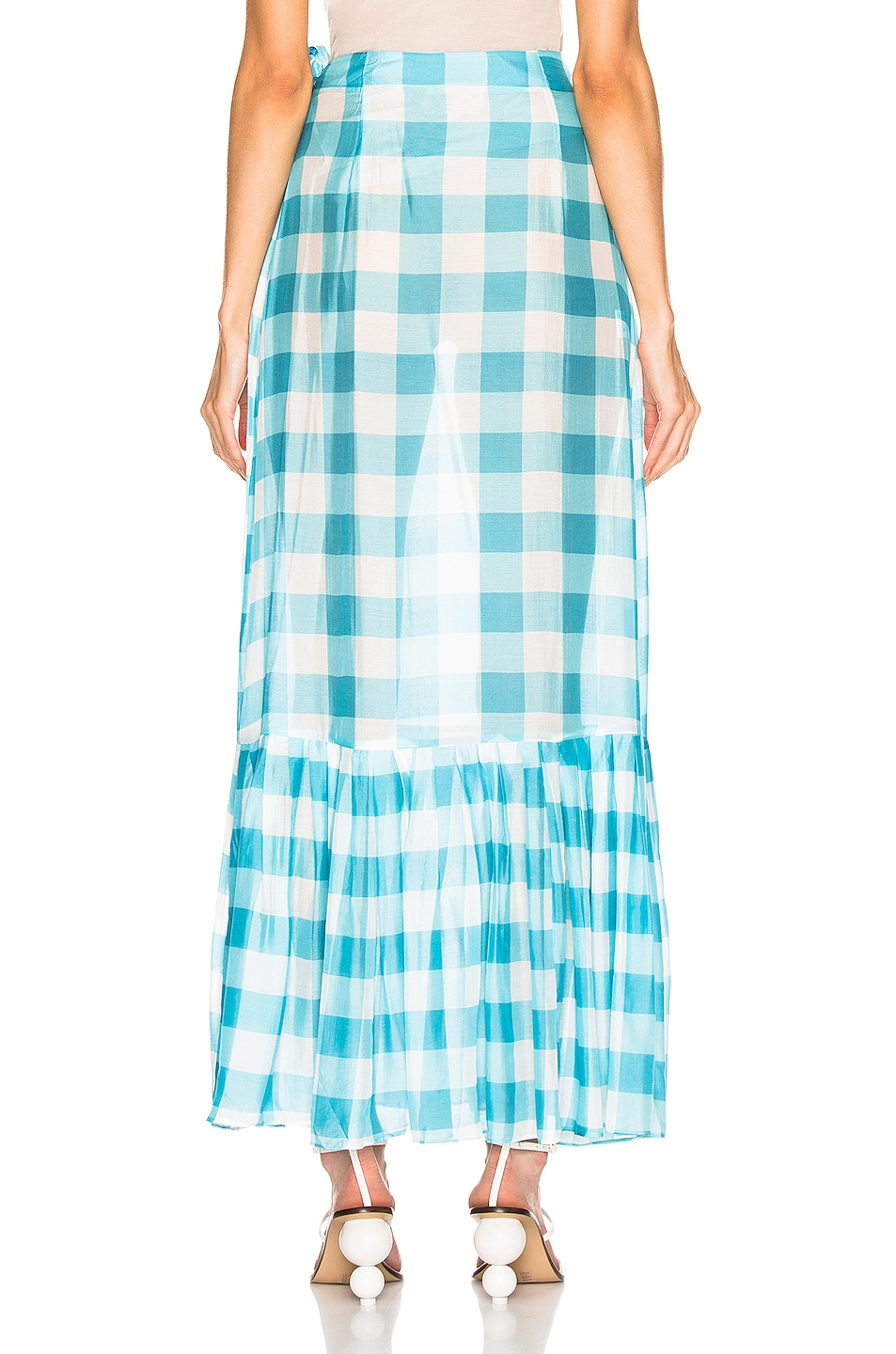 Image 4 of ADRIANA DEGREAS Vichy Long Pleated Skirt in Blue & White