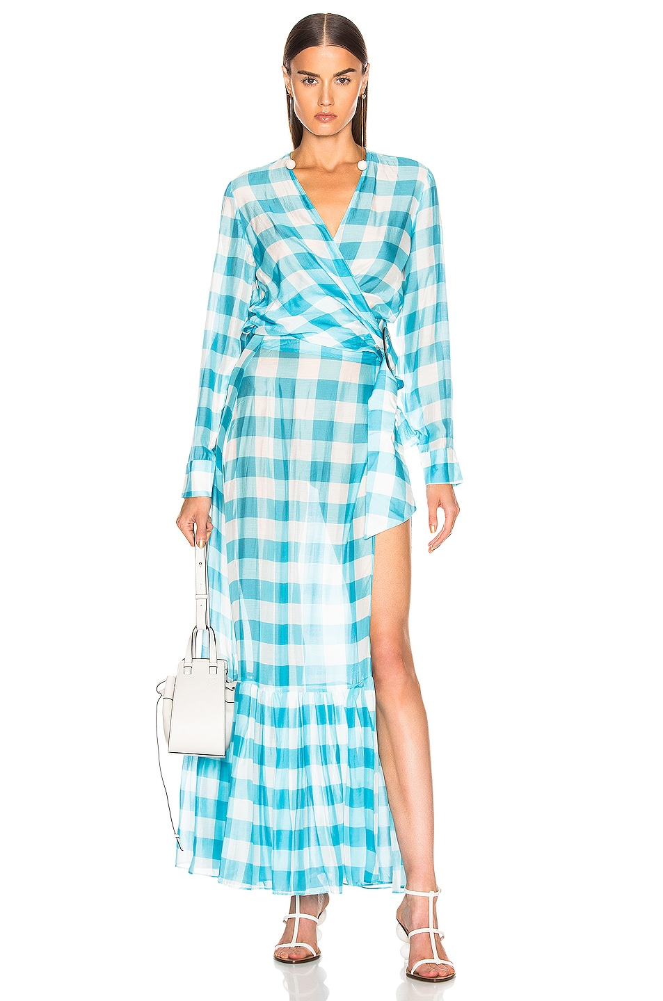 Image 5 of ADRIANA DEGREAS Vichy Long Pleated Skirt in Blue & White