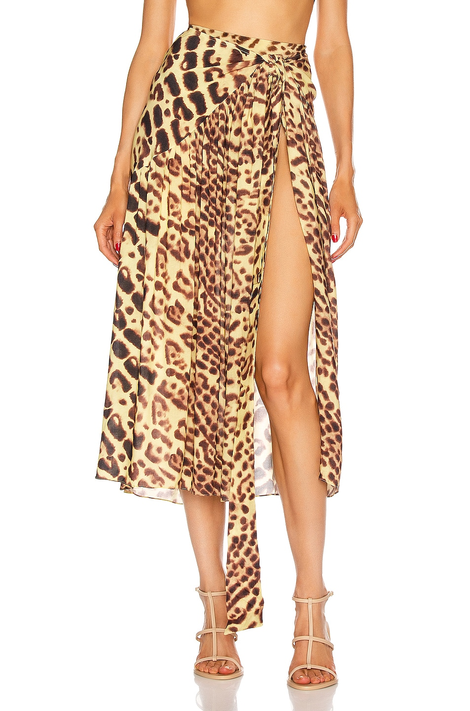 Image 1 of ADRIANA DEGREAS Leopard Pareo Midi Skirt in Brown