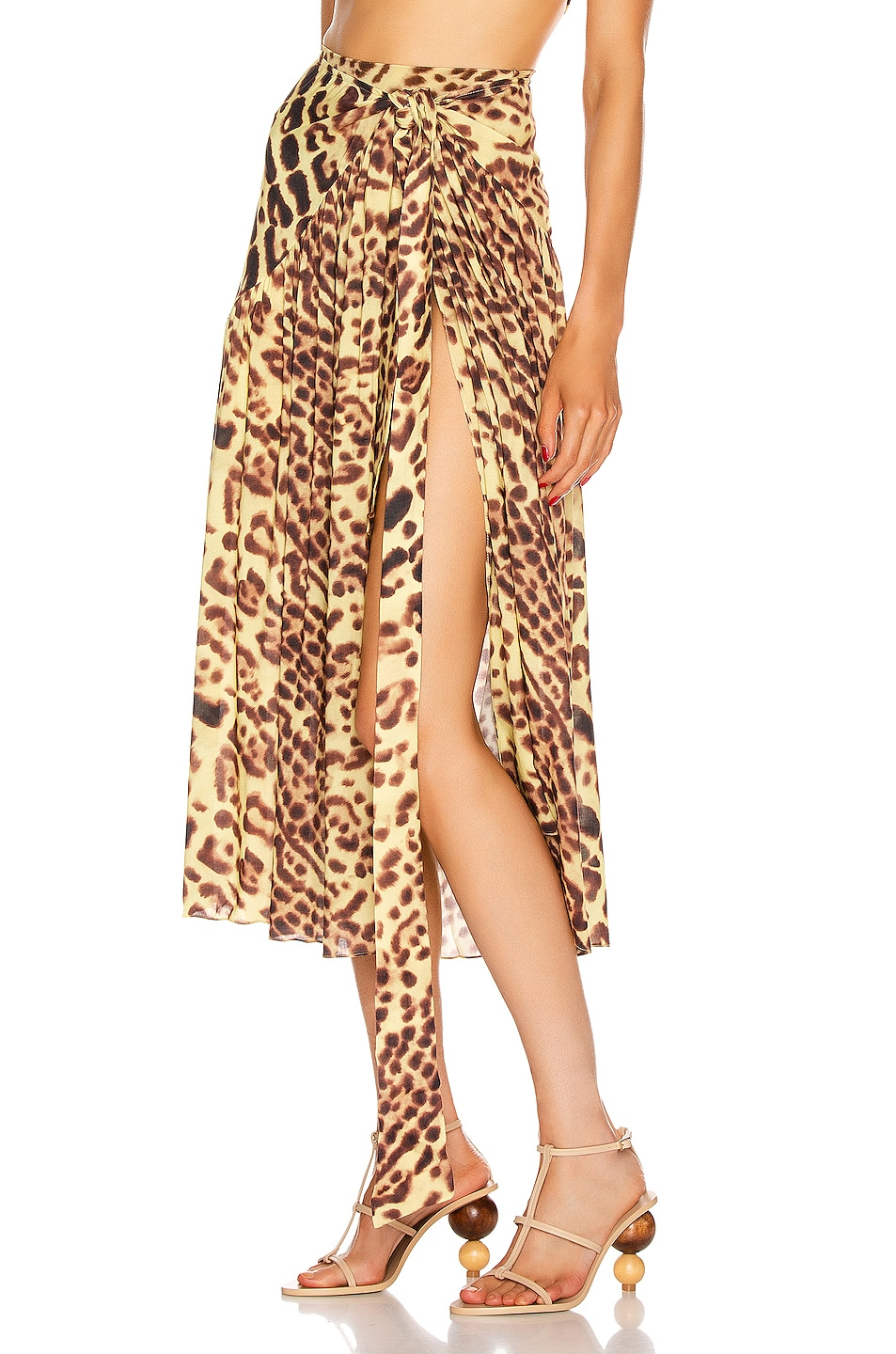 Image 3 of ADRIANA DEGREAS Leopard Pareo Midi Skirt in Brown