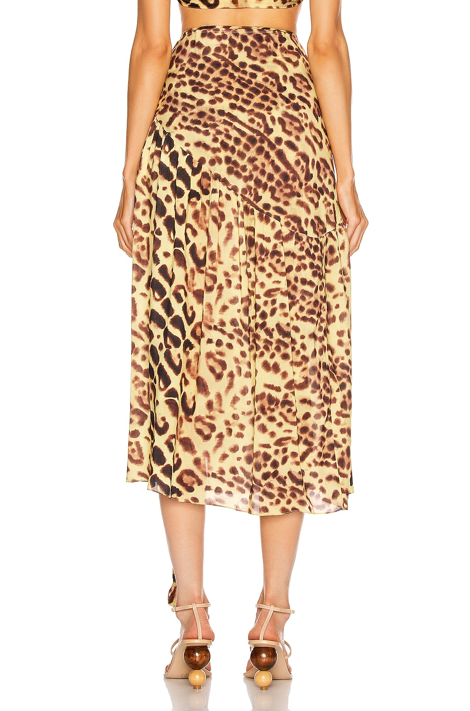 Image 4 of ADRIANA DEGREAS Leopard Pareo Midi Skirt in Brown