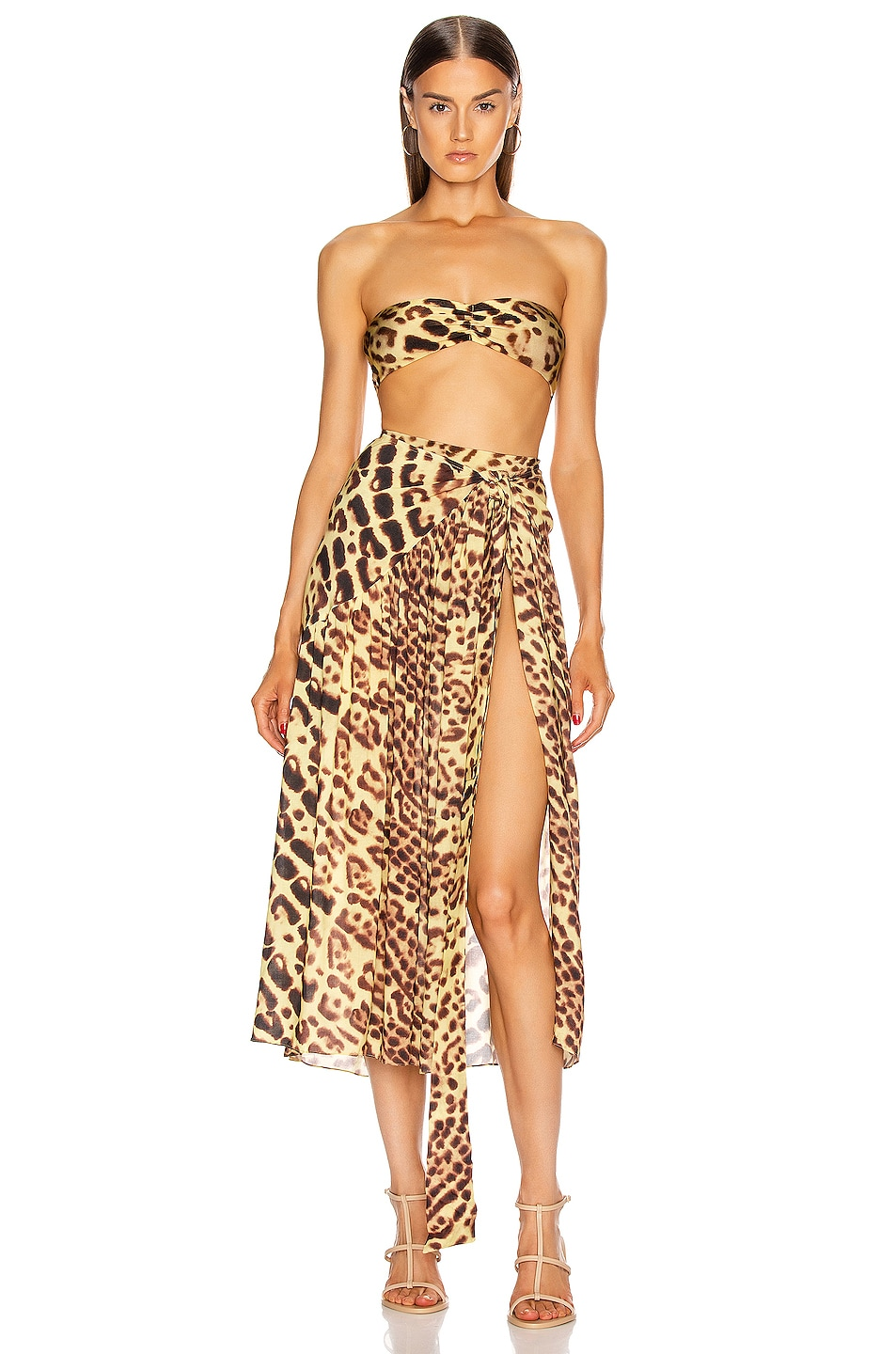 Image 5 of ADRIANA DEGREAS Leopard Pareo Midi Skirt in Brown