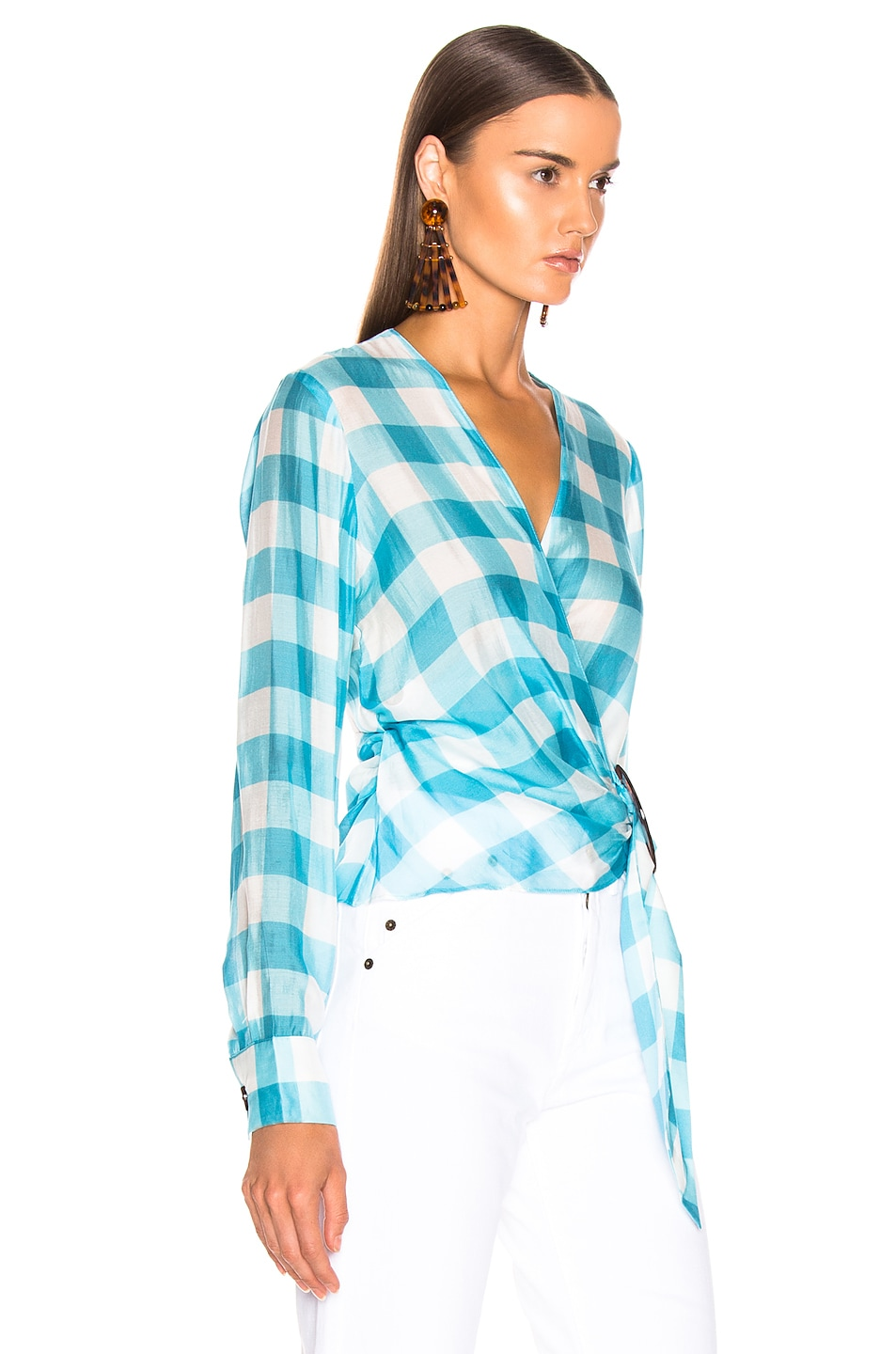 Image 2 of ADRIANA DEGREAS Vichy Cross Front Shirt With Hoop in Blue & White