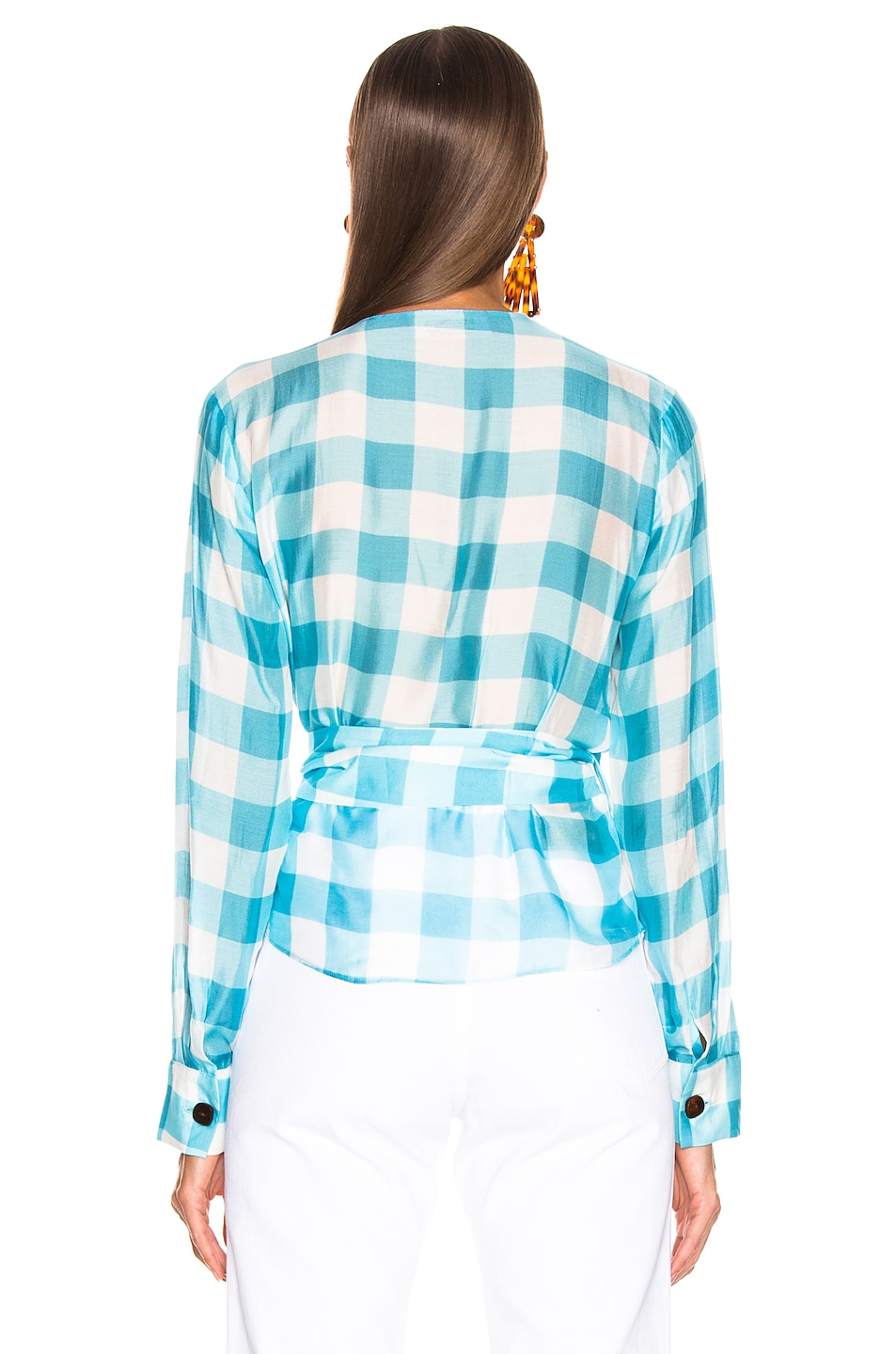 Image 4 of ADRIANA DEGREAS Vichy Cross Front Shirt With Hoop in Blue & White