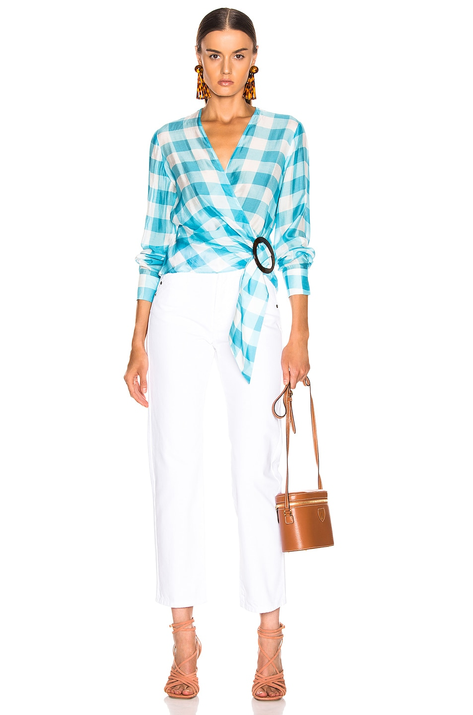Image 5 of ADRIANA DEGREAS Vichy Cross Front Shirt With Hoop in Blue & White