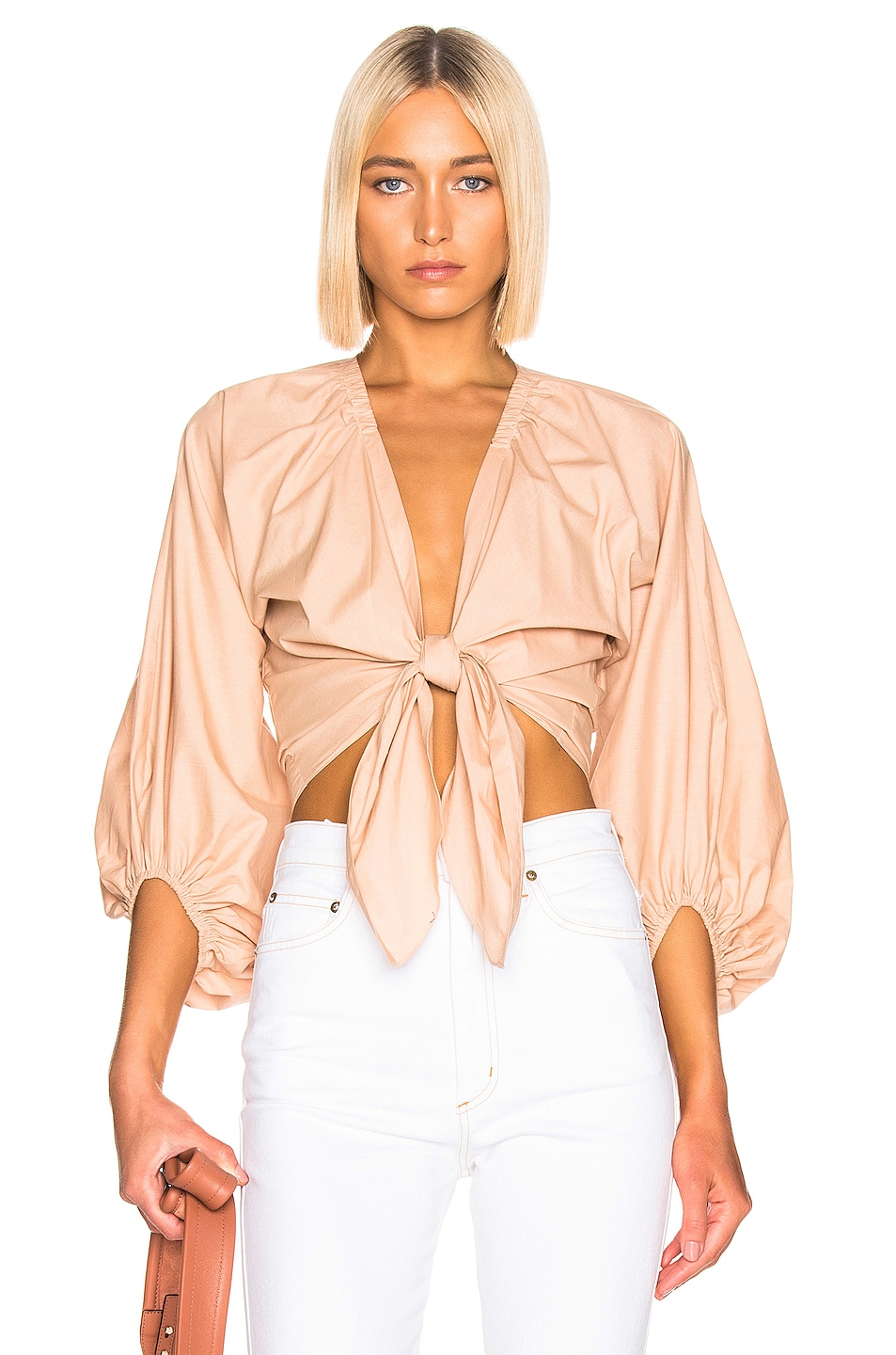 Image 1 of ADRIANA DEGREAS Front Knot Shirt in Beige