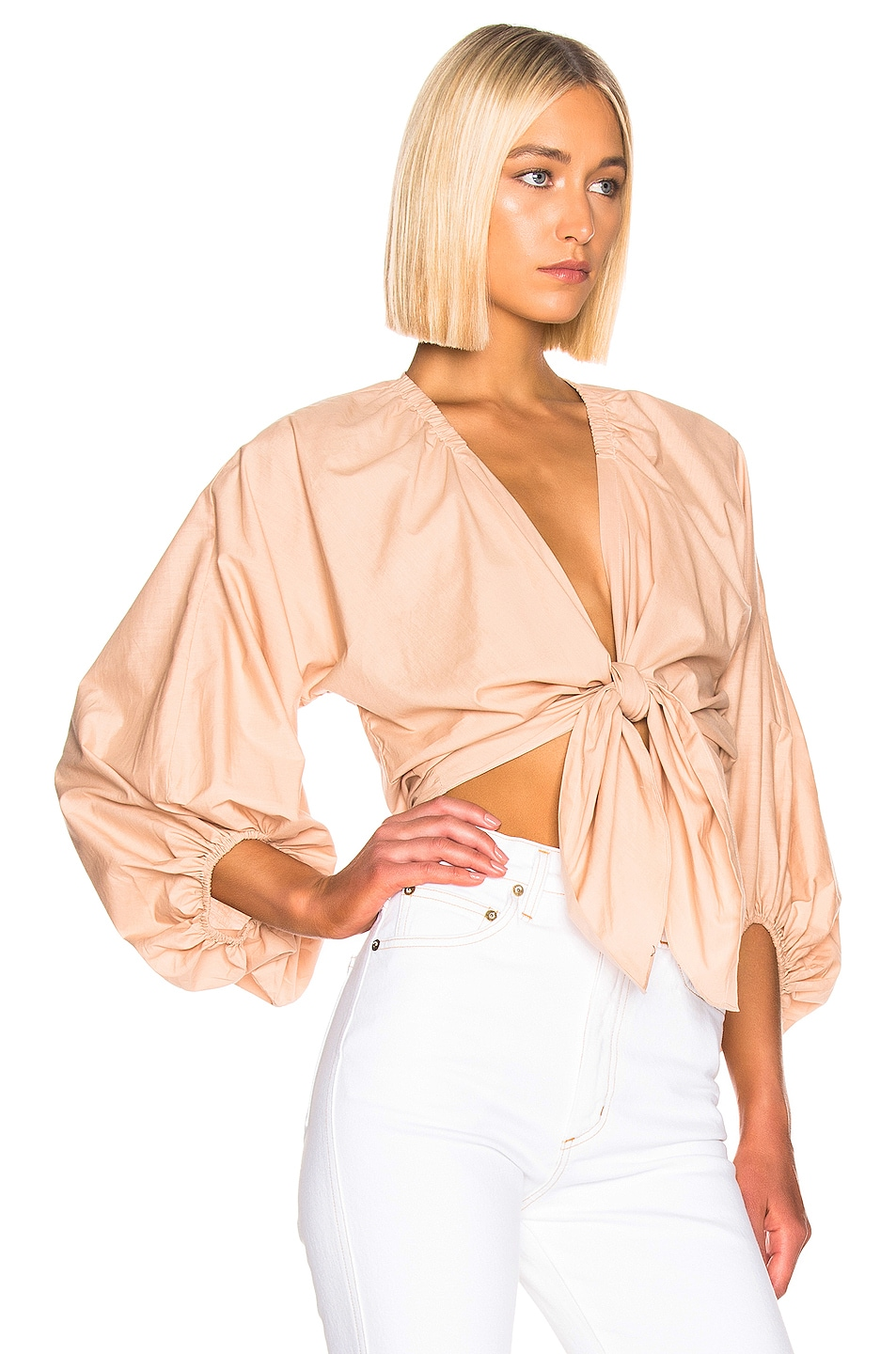 Image 2 of ADRIANA DEGREAS Front Knot Shirt in Beige