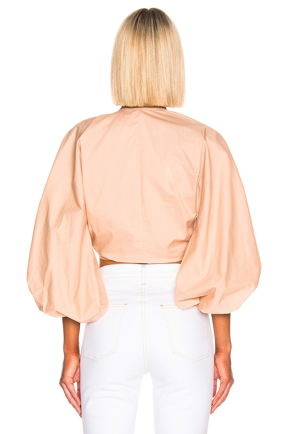 Image 3 of ADRIANA DEGREAS Front Knot Shirt in Beige