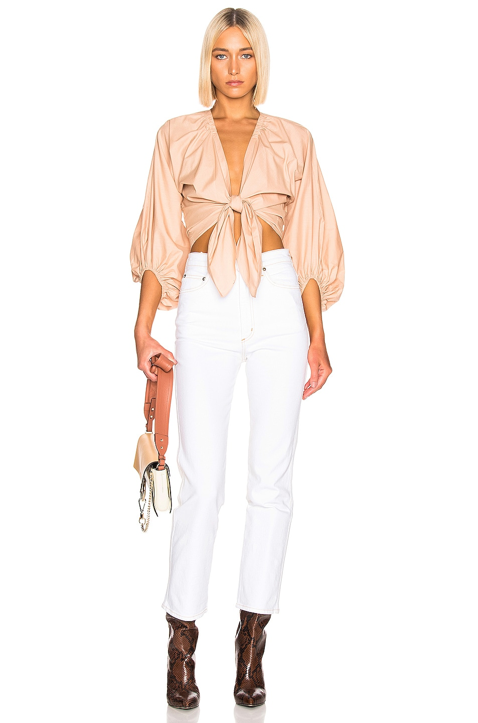 Image 4 of ADRIANA DEGREAS Front Knot Shirt in Beige