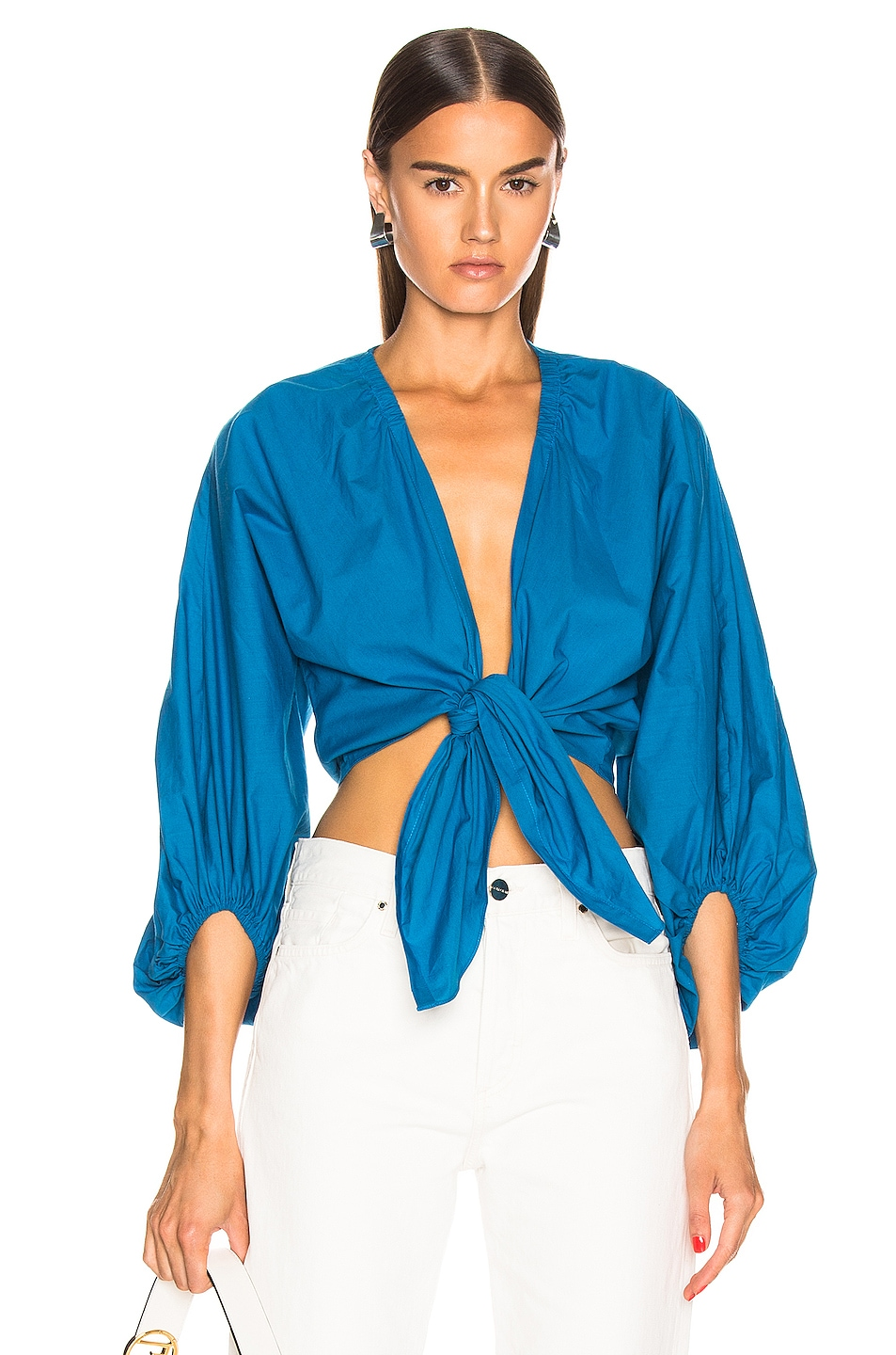 Image 1 of ADRIANA DEGREAS Front Knot Shirt in Blue