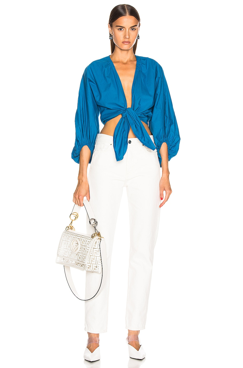 Image 4 of ADRIANA DEGREAS Front Knot Shirt in Blue